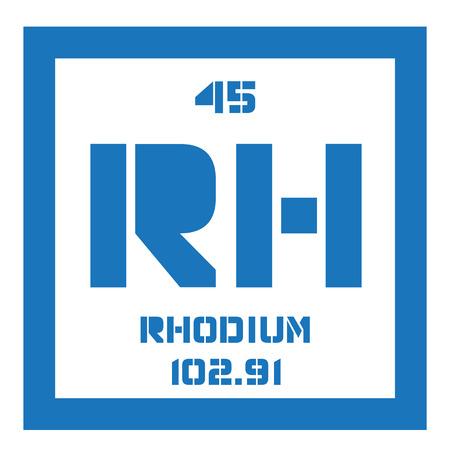 Rhodium chemical element. Silver white, hard and inert metal, belongs to the platinum group. Illustration