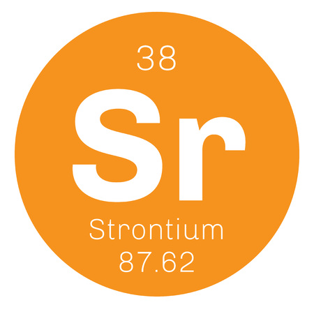strontium: Strontium chemical element. An alkaline earth metal. Colored icon with atomic number and atomic weight. Chemical element of periodic table. Illustration