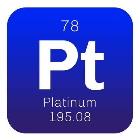 Platinum chemical element. Precious metal. Colored icon with atomic number and atomic weight. Chemical element of periodic table.