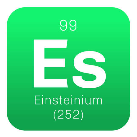 chemical element: Einsteinium chemical element. Synthetic element. Colored icon with atomic number and atomic weight. Chemical element of periodic table.