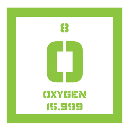 oxidizing: Oxygen chemical element. Highly reactive nonmetal and oxidizing agent. Colored icon with atomic number and atomic weight. Chemical element of periodic table. Illustration