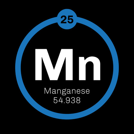 Manganese chemical element. Colored icon with atomic number and atomic weight. Chemical element of periodic table. Illustration