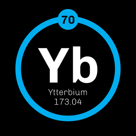 Ytterbium chemical element. Ytterbium is an element in the lanthanide series. Colored icon with atomic number and atomic weight. Chemical element of periodic table.