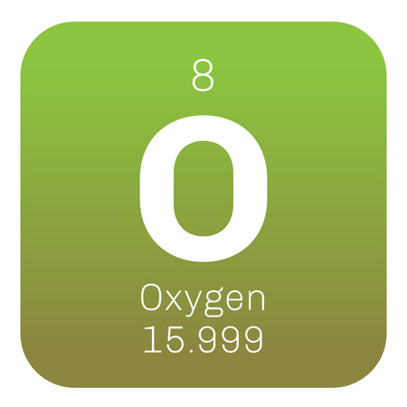 chemical element: Oxygen chemical element. Highly reactive nonmetal and oxidizing agent. Colored icon with atomic number and atomic weight. Chemical element of periodic table. Illustration