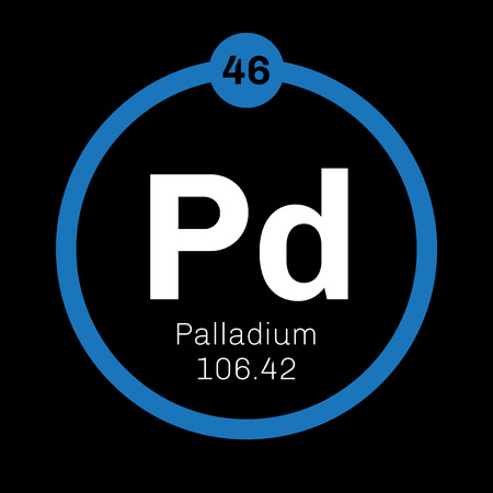 palladium: Palladium chemical element. Belongs to platinum group metals. Colored icon with atomic number and atomic weight. Chemical element of periodic table.