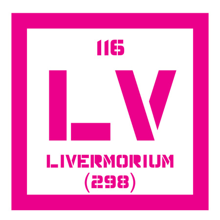 atomic number: Livermorium chemical element. Extremely radioactive element. Colored icon with atomic number and atomic weight. Chemical element of periodic table.