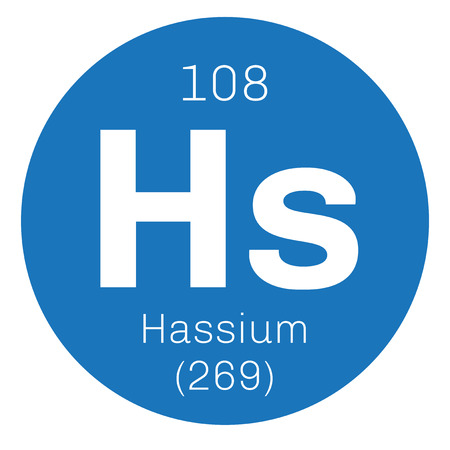 chemical element: Hassium chemical element. Radioactive synthetic element. Colored icon with atomic number and atomic weight. Chemical element of periodic table. Illustration