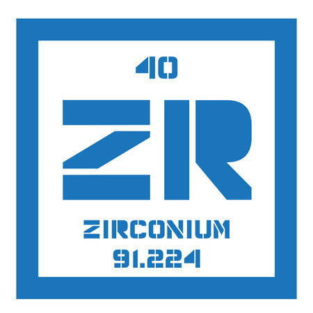 chemical element: Zirconium chemical element. Zirconium is a transition metal. Colored icon with atomic number and atomic weight. Chemical element of periodic table. Illustration