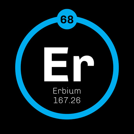 rare: Erbium chemical element. Rare earth element. Colored icon with atomic number and atomic weight. Chemical element of periodic table.