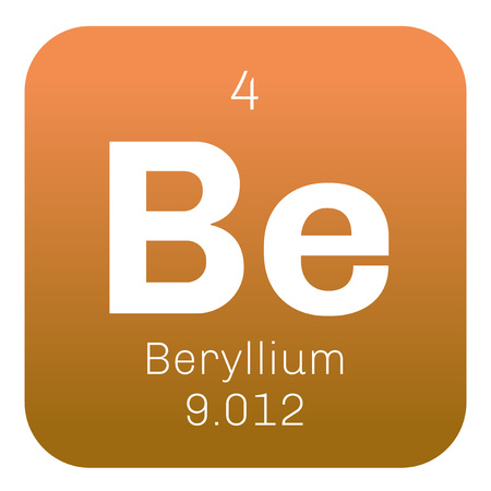 rare: Beryllium chemical element. A rare element. Colored icon with atomic number and atomic weight. Chemical element of periodic table. Illustration