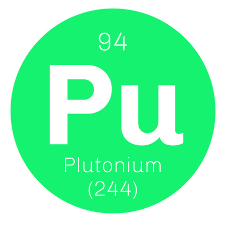 electrons: Plutonium chemical element. Actinide dangerous radioactive metal of silver gray appearance.