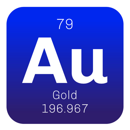 aurum: Gold chemical element. One of the least reactive chemical elements. Colored icon with atomic number and atomic weight. Chemical element of periodic table.
