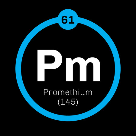 atomic number: Promethium chemical element. Radioactive element. Colored icon with atomic number and atomic weight. Chemical element of periodic table.