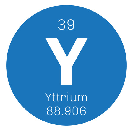 chemical element: Yttrium chemical element. Transition metal, rare element. Colored icon with atomic number and atomic weight. Chemical element of periodic table.