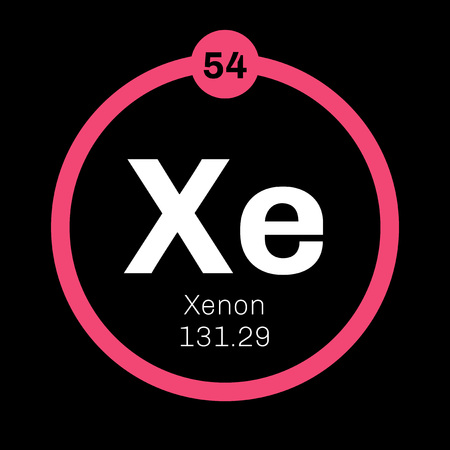 Xenon is a chemical element. Belongs to noble gases group of the periodic table. Neon is a colorless, odorless and inert gas. Illustration