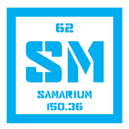 sm: Samarium chemical element. Part of the lanthanide series. Colored icon with atomic number and atomic weight. Chemical element of periodic table.