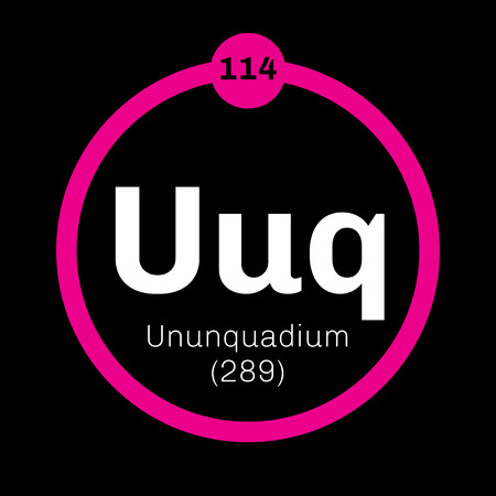 Ununquadium chemical element. Science symbol chemistry. Colored icon with atomic number and atomic weight. Chemical element of periodic table.