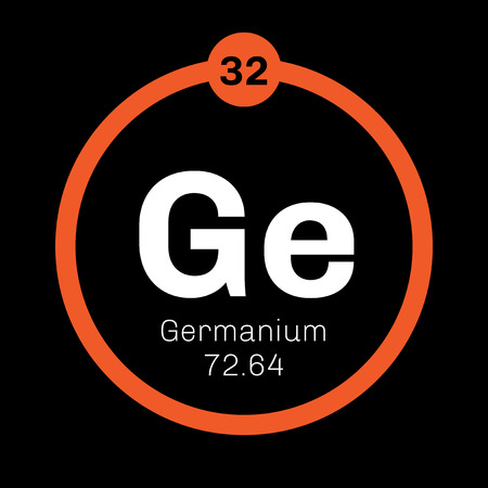 atomic number: Germanium chemical element. Metalloid in carbon group, a semiconductor. Colored icon with atomic number and atomic weight. Chemical element of periodic table. Illustration