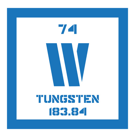 tungsten: Tungsten chemical element. Also known as wolfram. Colored icon with atomic number and atomic weight. Chemical element of periodic table.