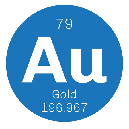 mendeleev: Gold chemical element. One of the least reactive chemical elements. Colored icon with atomic number and atomic weight. Chemical element of periodic table.