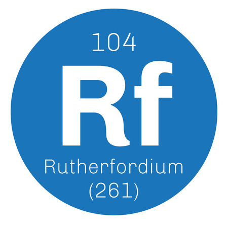 chemical element: Rutherfordium chemical element. Radioactive synthetic element. Colored icon with atomic number and atomic weight. Chemical element of periodic table.