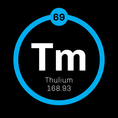 lanthanide: Thulium chemical element. Member of the lanthanide series. Colored icon with atomic number and atomic weight. Chemical element of periodic table.