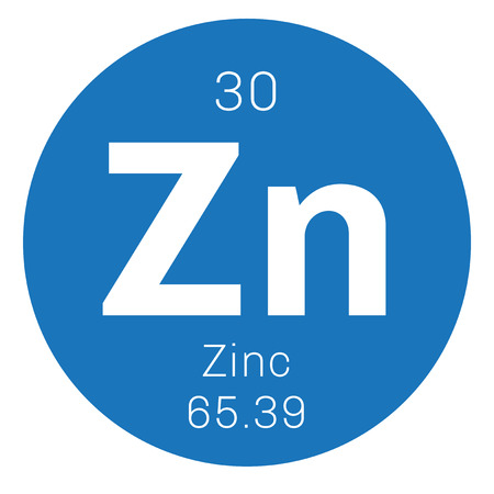 Zinc chemical element. Common element on Earth. Colored icon with atomic number and atomic weight. Chemical element of periodic table.