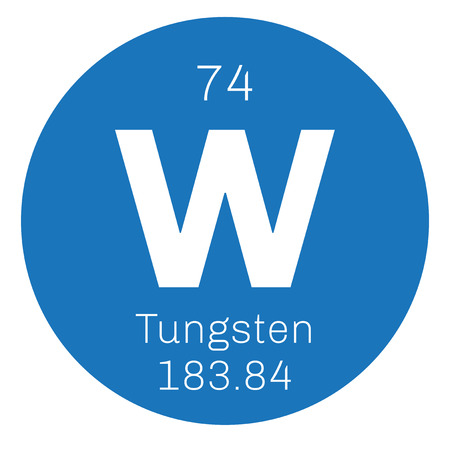 wolfram: Tungsten chemical element. Also known as wolfram. Colored icon with atomic number and atomic weight. Chemical element of periodic table.