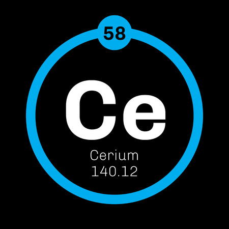 affinity: Cerium chemical element. Most common of the lanthanides. Colored icon with atomic number and atomic weight. Chemical element of periodic table.