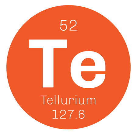 chemical element: Tellurium chemical element. Extremely rare element. Colored icon with atomic number and atomic weight. Chemical element of periodic table.