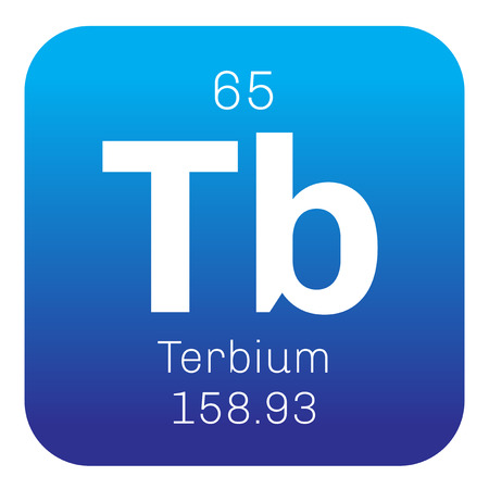 tb: Terbium chemical element. Rare earth metal. Colored icon with atomic number and atomic weight. Chemical element of periodic table. Illustration