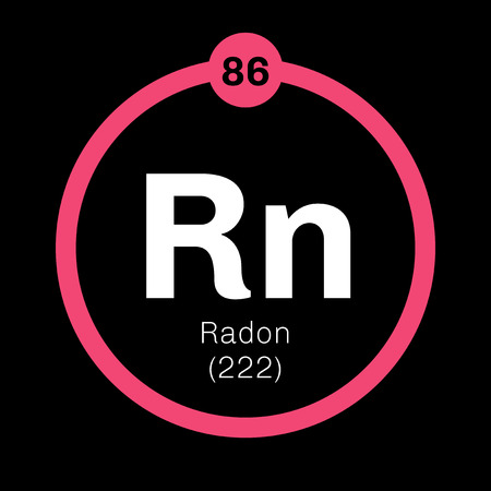 Radon chemical element. Radon is radioactive, colorless, odorless and tasteless gas. Belongs to noble gases group of the periodic table. Illustration