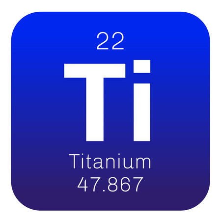 titanium: Titanium chemical element. Transition metal of high strength. Colored icon with atomic number and atomic weight. Chemical element of periodic table.