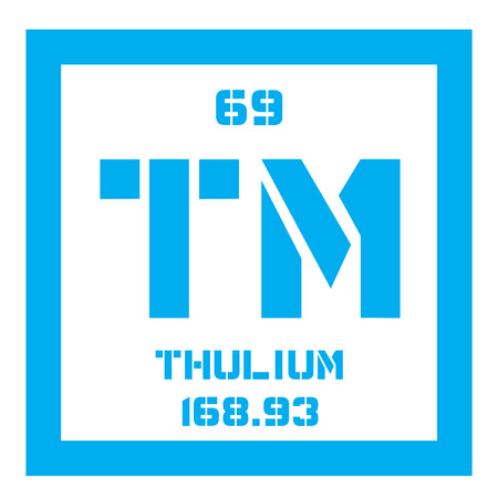 tabular: Thulium chemical element. Member of the lanthanide series. Colored icon with atomic number and atomic weight. Chemical element of periodic table.