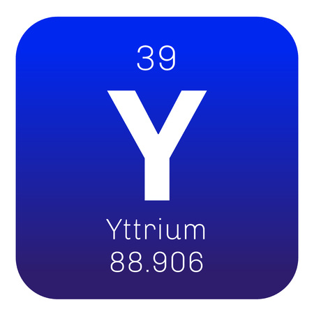 atomic number: Yttrium chemical element. Transition metal, rare element. Colored icon with atomic number and atomic weight. Chemical element of periodic table.