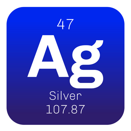Silver chemical element. Precious metal. Colored icon with atomic number and atomic weight. Chemical element of periodic table. Illustration