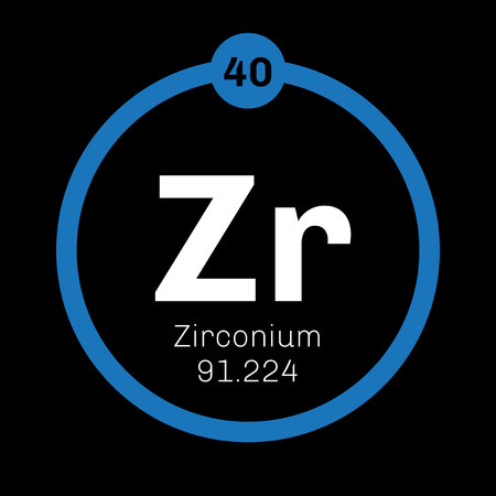 affinity: Zirconium chemical element. Zirconium is a transition metal. Colored icon with atomic number and atomic weight. Chemical element of periodic table. Illustration