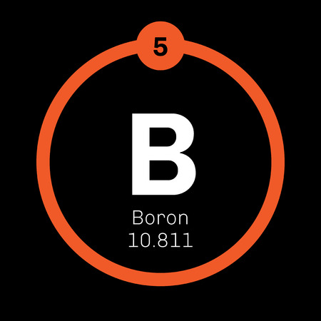 Boron chemical element. A low-abundance element in the Solar system. Colored icon with atomic number and atomic weight. Chemical element of periodic table. Illustration