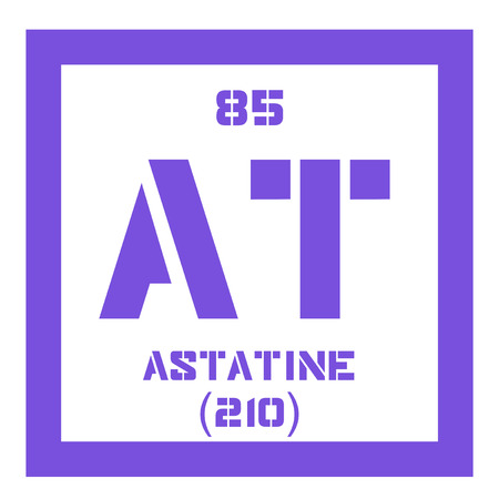 mendeleev: Astatine chemical element. Radioactive chemical element. Colored icon with atomic number and atomic weight. Chemical element of periodic table. Illustration