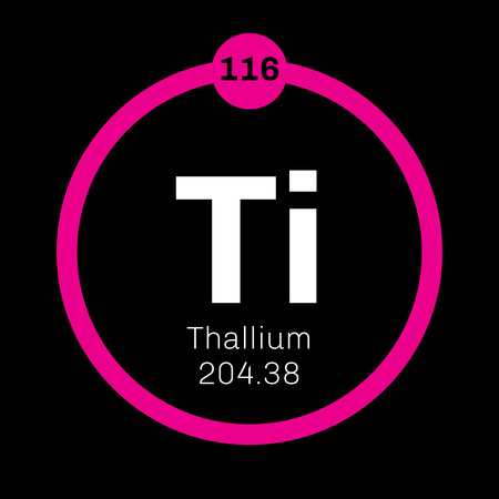 atomic number: Thallium chemical element. Soft gray post-transition metal. Colored icon with atomic number and atomic weight. Chemical element of periodic table.