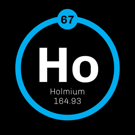 Holmium chemical element. Part of the lanthanide series. Colored icon with atomic number and atomic weight. Chemical element of periodic table. Illustration