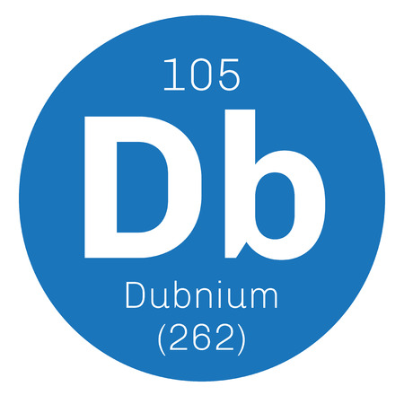atomic number: Dubnium chemical element. Radioactive synthetic element. Colored icon with atomic number and atomic weight. Chemical element of periodic table.