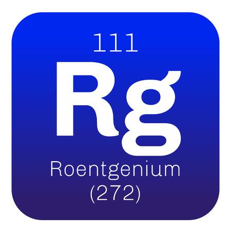 Roentgenio elemento qumico elemento sinttico extremadamente roentgenio elemento qumico elemento sinttico extremadamente radiactivo icono de color con el nmero atmico urtaz Choice Image