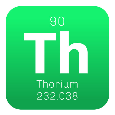 mendeleev: Thorium chemical element. A radioactive actinide metal. Colored icon with atomic number and atomic weight. Chemical element of periodic table.