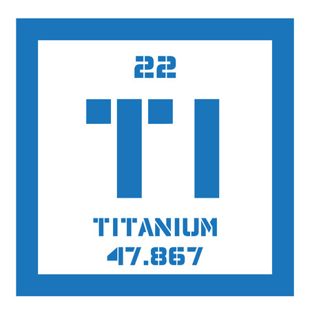 titanium chemical element transition metal of high strength colored icon with atomic number and