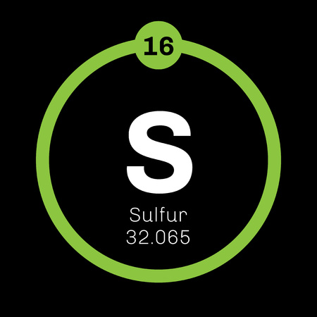 Sulfur chemical element. Abundant non-metal element. Colored icon with atomic number and atomic weight. Chemical element of periodic table.