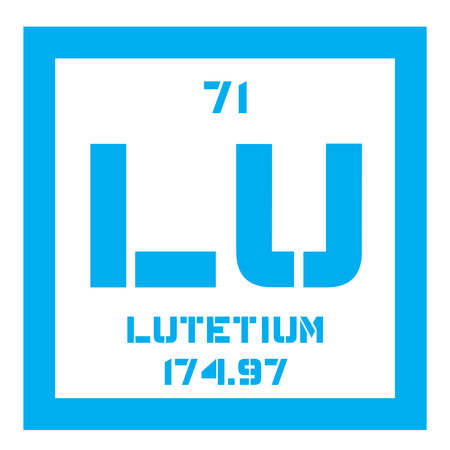 atomic number: Lutetium chemical element. Last element in the lanthanide series. Colored icon with atomic number and atomic weight. Chemical element of periodic table.