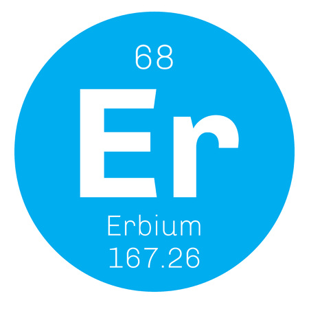 er: Erbium chemical element. Rare earth element. Colored icon with atomic number and atomic weight. Chemical element of periodic table.