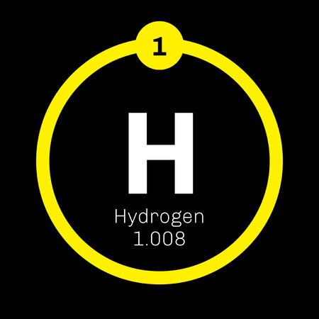 Hydrogène élément chimique. L'élément le plus léger du tableau périodique. icône de couleur avec le numéro atomique et le poids atomique. Élément chimique du tableau périodique.