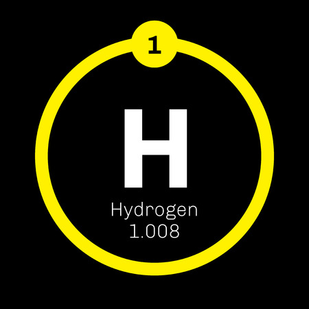Wasserstoff chemisches Element. Das hellste Element im Periodensystem. Farbige Symbol mit der Ordnungszahl und Atomgewicht. Chemisches Element des Periodensystems.